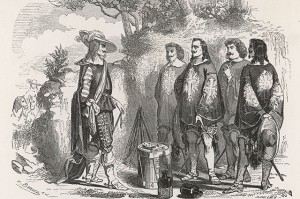 The Three Musketeers & D'Artagnan are surprised by Richelieu. Date: First published: 1844 Source: Author: Alexandre Dumas. Illustration by B. Veauce in the 1859 edition of 'Les Trois Mousquetaires', page 402