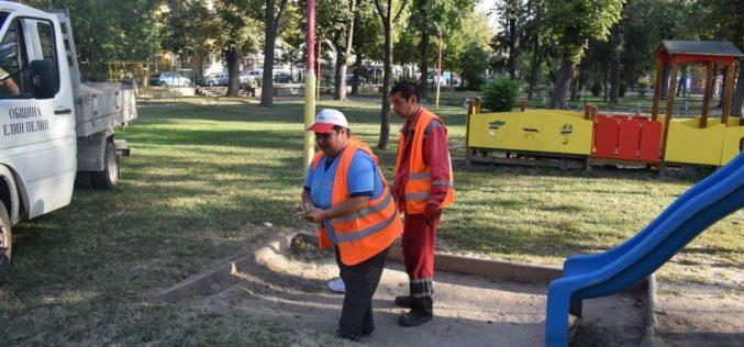 Ремонтирани детски площадки и кът за отдих в Елин Пелин